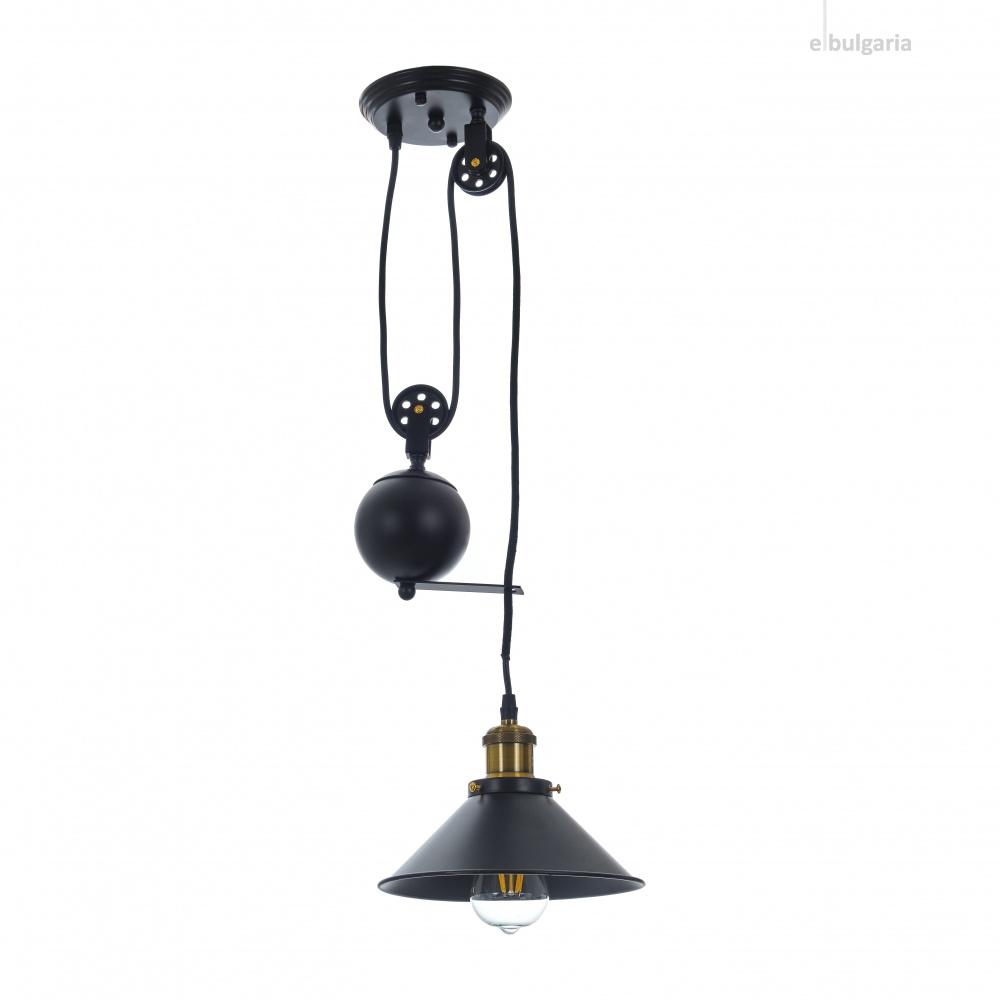 метален пендел, черен, elbulgaria, led 1x8w, 1860/1