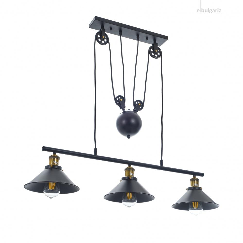 метален полилей, черен, elbulgaria, led 3x8w, 1860/3