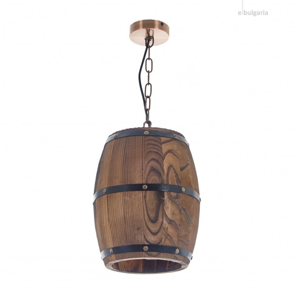 дървен пендел, кафяв, elbulgaria, 1x40w, 1868