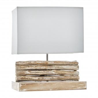 настолна лампа от дърво, бял, elbulgaria, 1x40w, eli 12/cream