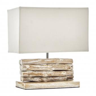 настолна лампа от дърво, бял, elbulgaria, 1x40w, eli 13/cream