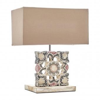 настолна лампа от дърво, крем, elbulgaria, 1x40w, eli 16/light br