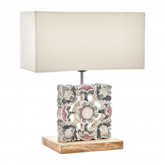 настолна лампа от дърво, бял, elbulgaria, 1x40w, eli 16/wh