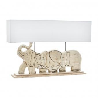 настолна лампа от дърво, бяла, elbulgaria, 2x40w, eli 18/wh