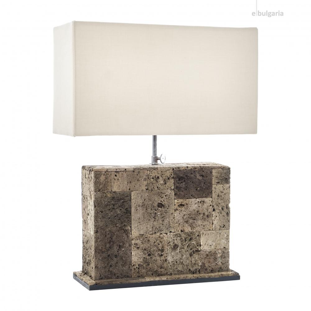настолна лампа от камък, кафява, elbulgaria, 1x40w, eli 1t/25