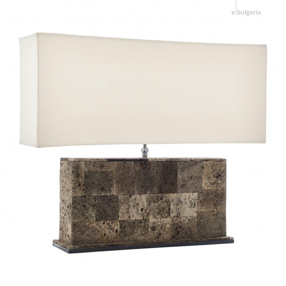 настолна лампа от камък, кафява, elbulgaria, 1x40w, eli 1t/40