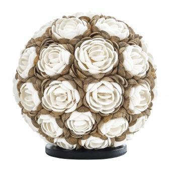 настолна лампа от мидички, кафява+бяла, elbulgaria, 1x40w, eli 24/r mix