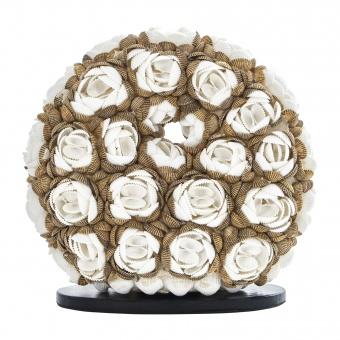 настолна лампа от мидички, кафява+бяла, elbulgaria, 1x40w, eli 25/d rose mix