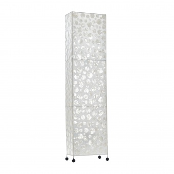 лампион от седеф и текстил, бял, elbulgaria, 2x40w, eli 35f wh