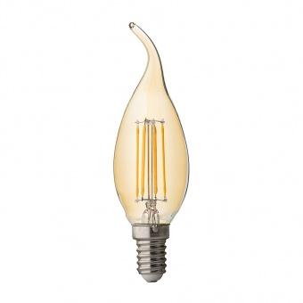 димираща led лампа 4w, e14, топла светлина, candle flame filament, амбър, ultralux, 2500k, 350lm, lff41425d