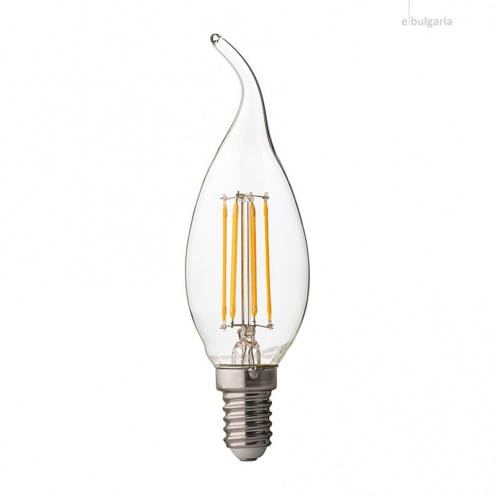 димируема led лампа 4w, e14, бяла светлина, candle flame filament, ultralux, 4200k, 400lm, lff41442d