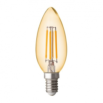 димираща led лампа 4w, e14, топла светлина, filament, амбър, ultralux, 2500k, 350lm, lfc41425d