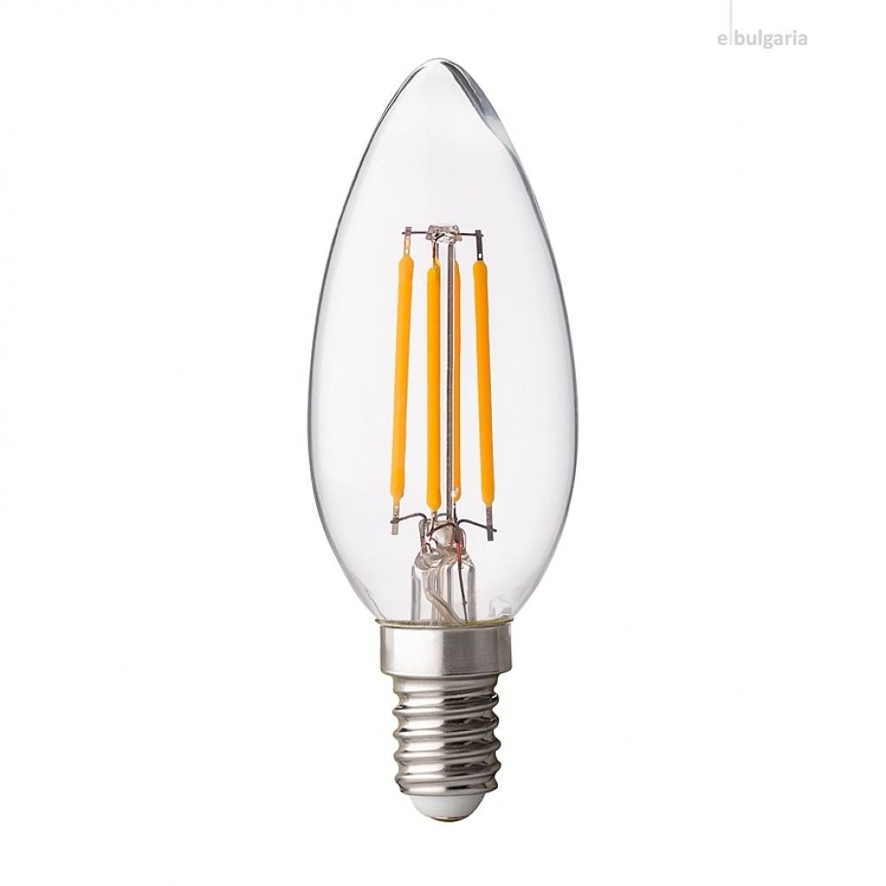 димируема led лампа 4w, e14, бяла светлина, filament, ultralux, 4200k, 400lm, lfc41442d