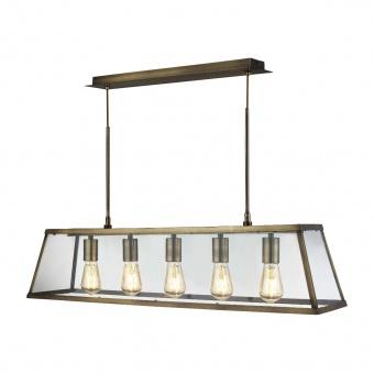 стъклен полилей, antique brass, searchlight, voyager, 5x40w, 4614-5ab