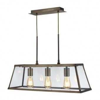 стъклен полилей, antique brass, searchlight, voyager, 3x40w, 4613-3ab