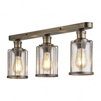 стъклен полилей, antique brass, searchlight, pipes, 3x40w, 1263-3ab
