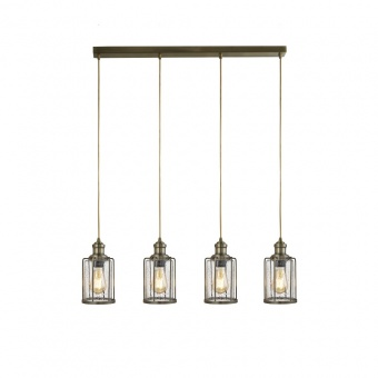 стъклен полилей, antique brass, searchlight, pipes, 4x40w, 1164-4ab