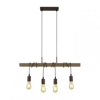 дървен полилей, brown, searchlight, barn, 4x40w, 4874-4br