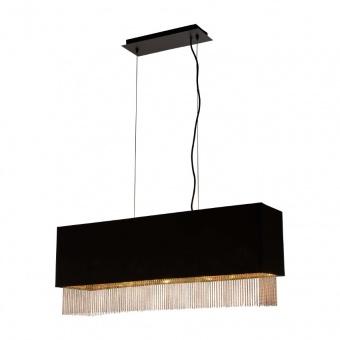 текстилен полилей, matt black/gold, searchlight, fringe, 4x40w, 8724-4bk