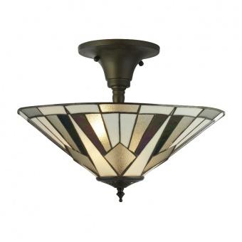 стъклен полилей, antique brass, searchlight, gatsby, 3x40w, 6071-42