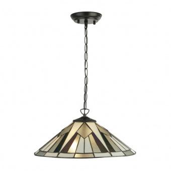 стъклен полилей, antique brass, searchlight, gatsby, 2x40w, 6072-42