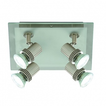 стъклен спот, satin silver, searchlight, top hat, 4x35w, 7844-4