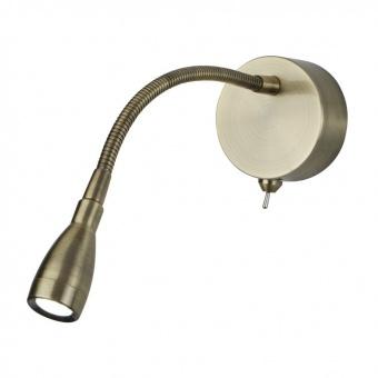 метален аплик, antique brass, searchlight, led picture lights, led 1x0.5w, 6500k, 30lm, 9917ab