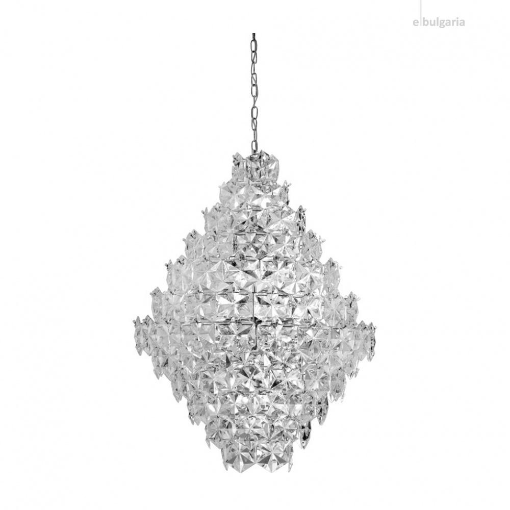 кристален полилей, chrome, searchlight, tiles II, 17x40w, 54817-17cc