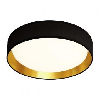 текстилен плафон, black/gold, searchlight, gianna, led 15w, 3000k, 950lm, 9371-37bgo