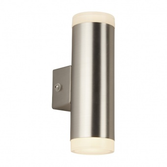 pvc градински аплик, satin silver, searchlight, led outdoor, led 8w, 3000k, 650lm, 2100sn