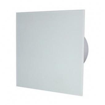 вентилатор за баня, квадрат с клапа, бял гланц, mmotors, ф100/169, 169m/h3, 18w, mm-p, 06 стъкло права, 9494
