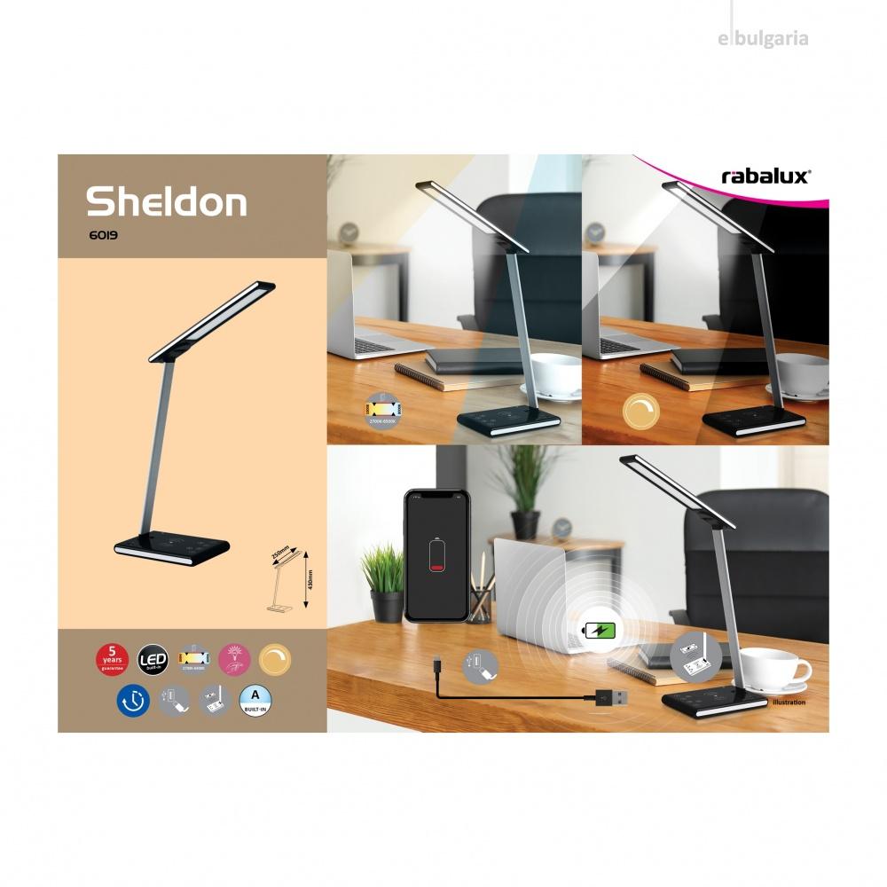 pvc работна лампа, black, rabalux, sheldon, led 5w, 2700-6500k, 220lm, 6019