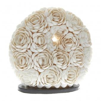 настолна лампа от мидички, бяла, elbulgaria, 1x40w, eli 25/d rose wh
