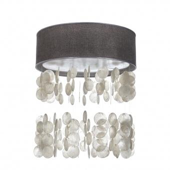 текстилен led плафон със седеф, сив, elbulgaria, led 24w, 3000-4500k, 1350c/24w grey+eli46/r nat