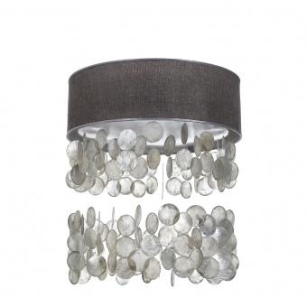 текстилен led плафон със седеф, сив, elbulgaria, led 24w, 3000-4500k, 1350c/24w grey+eli46/r sl