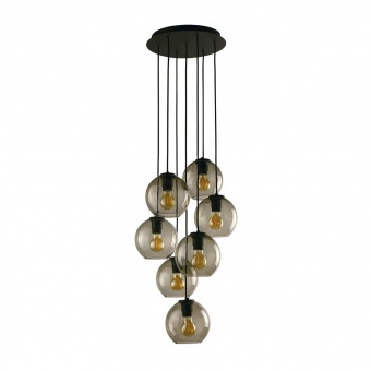 стъклен полилей, black, nowodvorski, vetro, 7x40w, 9131