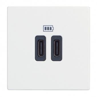 двойна USB розетка за зареждане тип C, white, bticino, classia, 5Vdc до 3000mAh, rw4286c2