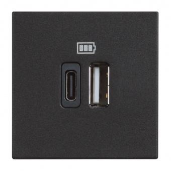двойна USB розетка за зареждане тип A и C, black, bticino, classia, 5Vdc до 3000mAh, rg4287c2