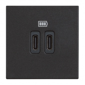 двойна USB розетка за зареждане тип C, black, bticino, classia, 5Vdc до 3000mAh, rg4286c2