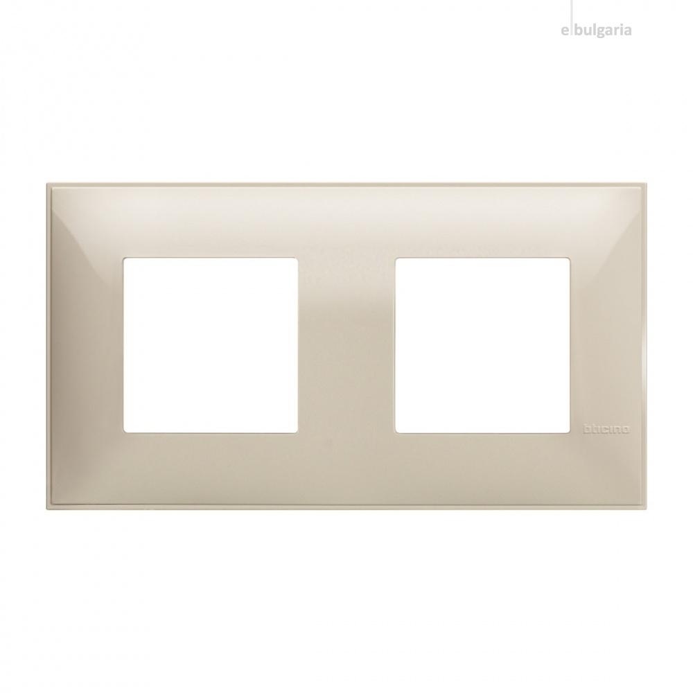 PVC двойна рамка, cream, bticino, classia, r4802m2cr