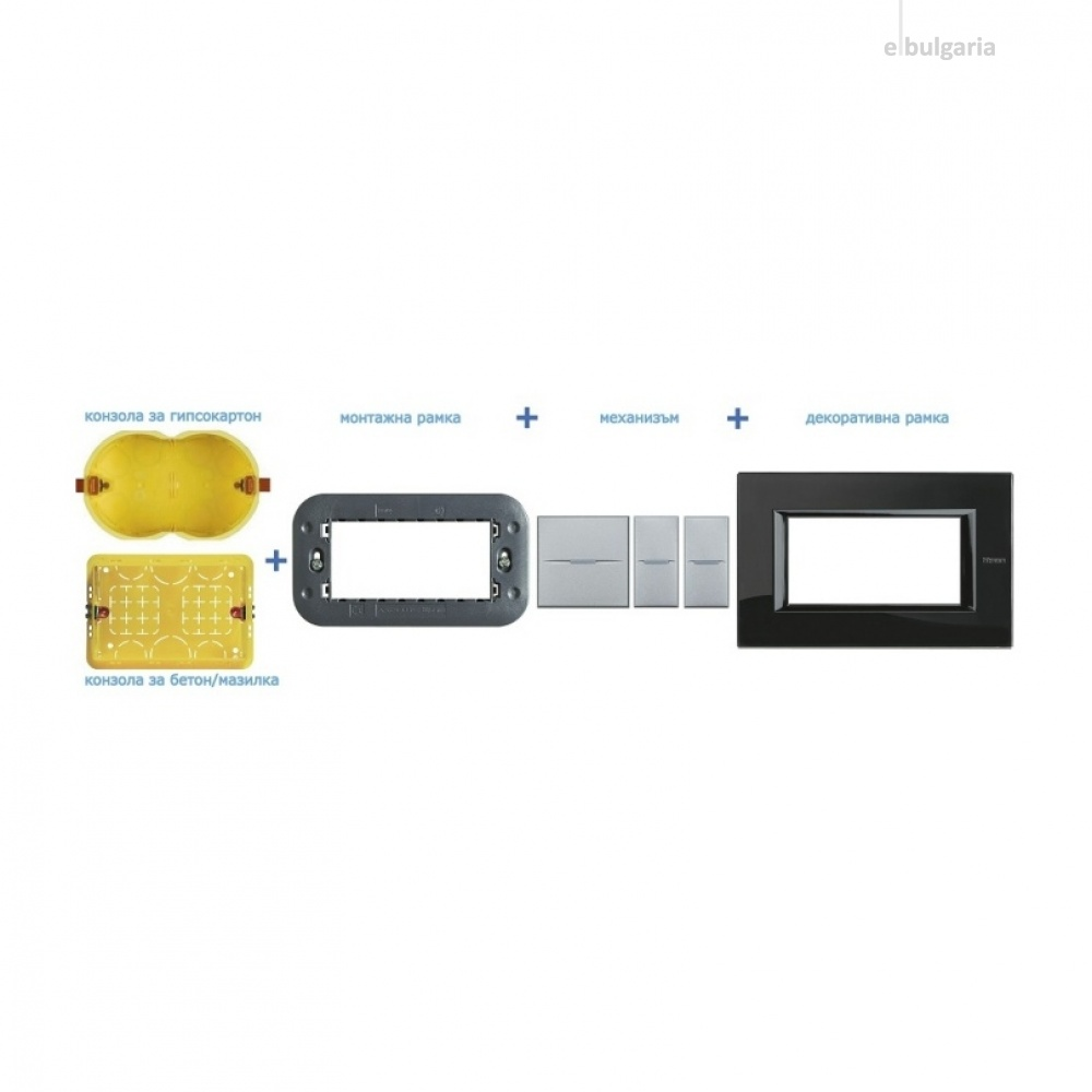 PVC тройна рамка, moka, bticino, classia, r4802m3mk