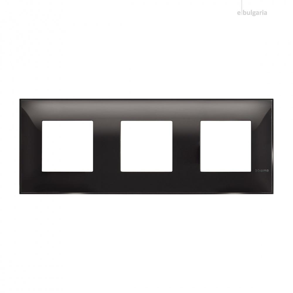 PVC тройна рамка, black, bticino, classia, r4802m3bc
