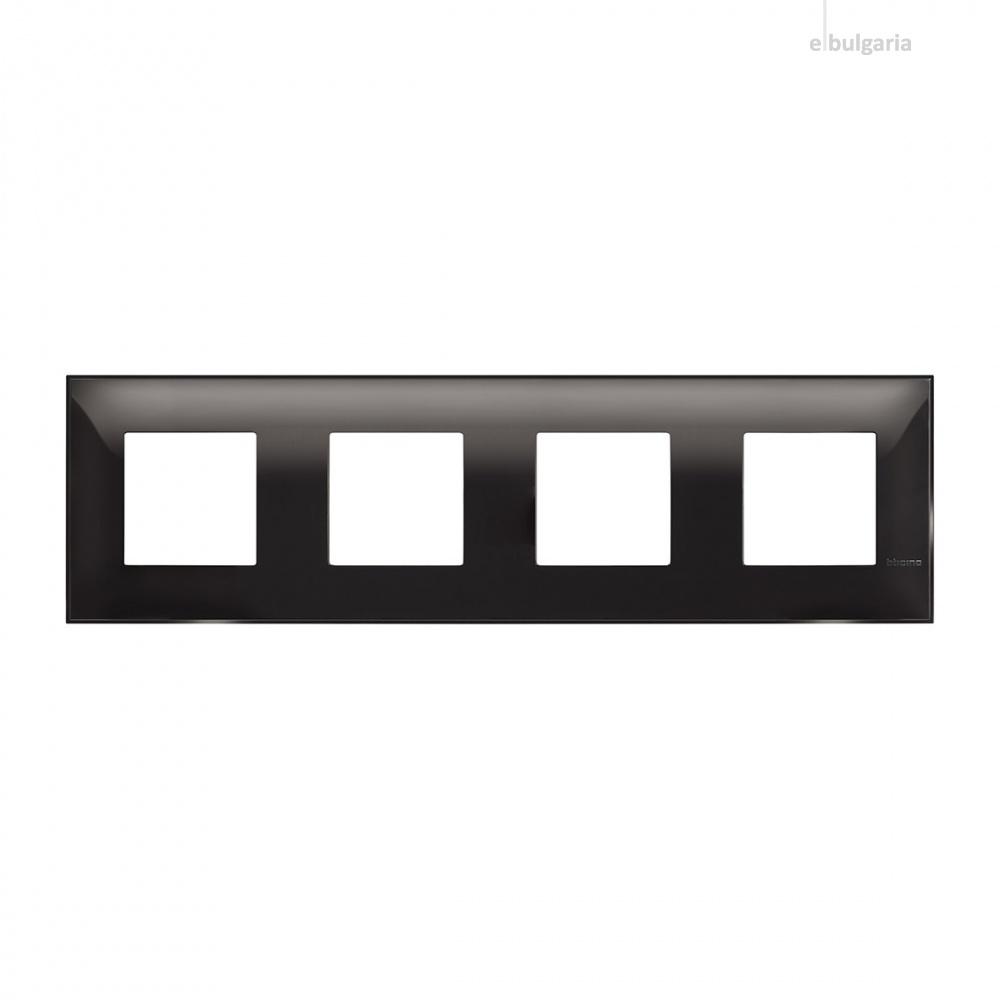PVC четворна рамка, black, bticino, classia, r4802m4bc