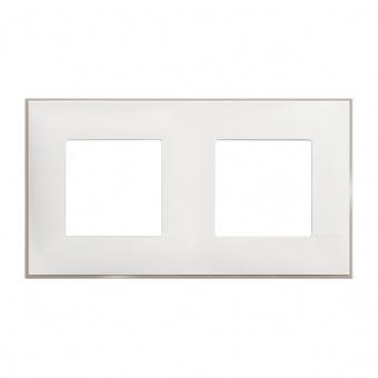PVC двойна рамка, white satin, bticino, classia, r4802m2ws