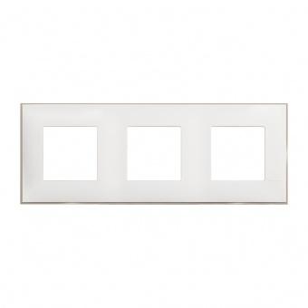 PVC тройна рамка, white satin, bticino, classia, r4802m3ws