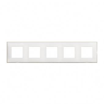 PVC петорна рамка, white satin, bticino, classia, r4802m5ws