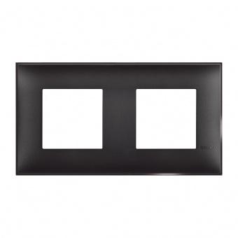 PVC двойна рамка, black satin, bticino, classia, r4802m2bg