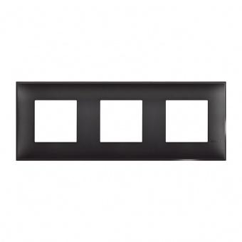 PVC тройна рамка, black satin, bticino, classia, r4802m3bg
