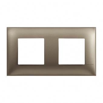 PVC двойна рамка, titanium metal, bticino, classia, r4802m2tm