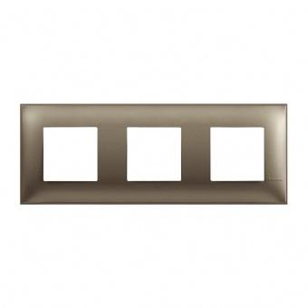 PVC тройна рамка, titanium metal, bticino, classia, r4802m3tm